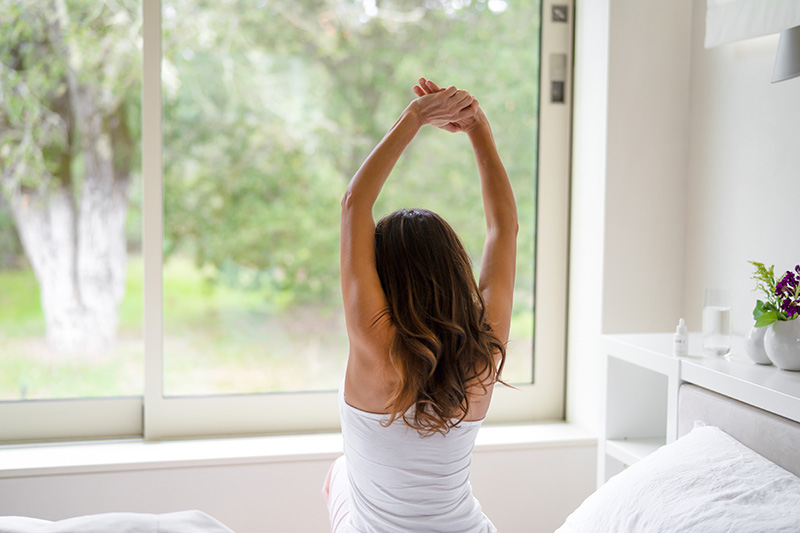 Waking up early for successful woman